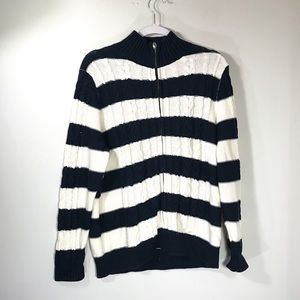 L.L. BEAN • Zip Up Striped Sweater | XLP